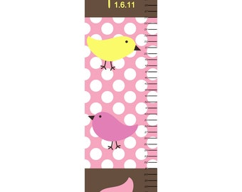 Growth Chart Children Canvas Growth Chart Birds Polka Dot Personalized