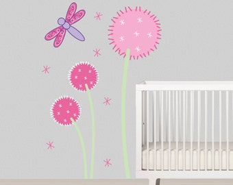 Dandelion Wall Decal Children Wall Decal Dragonfly Nursery Decor