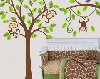 Tree Wall Decal Monkey Nursery Kids Removable Wall Vinyl Decal Wall Sticker OHSC