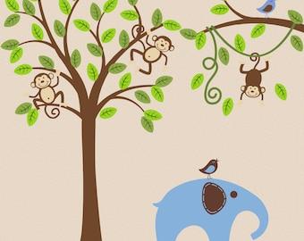 Children Wall Decal Jungle Safari Elephant Tree Wall Decal Wall Sticker Art Decor Nursery Baby Child Kids OHSC