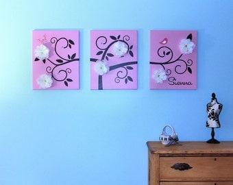 "Swirl Tree  Children Wall Art  3 16"" x 20"" Stretched Canvas OHSC"