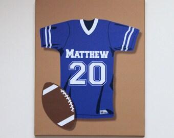 "Football  Jersey Sports Wall Art Stretched Canvas Nursery Decor 16"" x 20"""