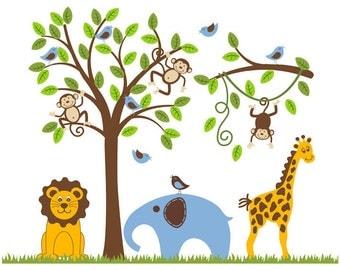 Monkey Wall Decal Elephant Kids Nursery Decor Baby Toddler