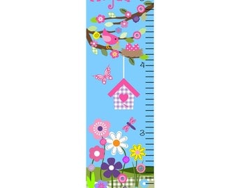 Growth Chart Children Canvas Growth Chart  Personalized Bird House Tree Garden