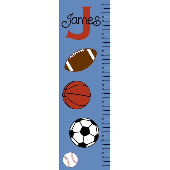 Sports Growth Chart Children Canvas Personalized