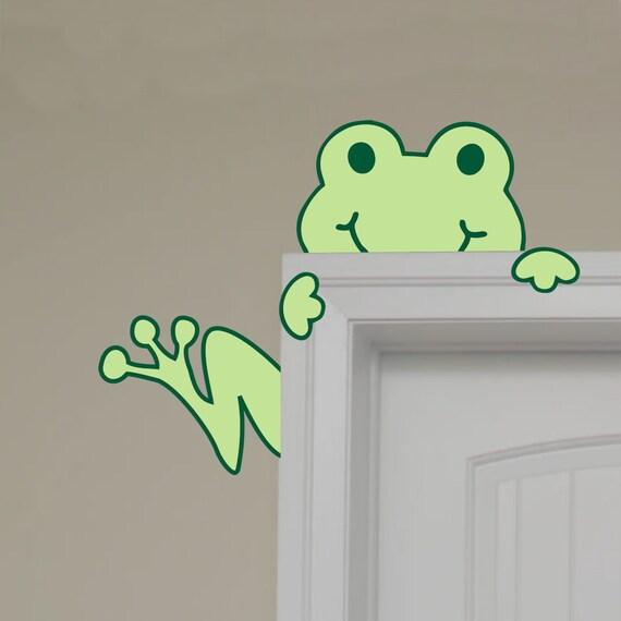 Children Wall Decal Frog Peeking Hugging Door Tree Frog Art