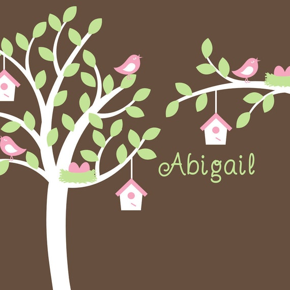 Nursery Tree Decal with Bird Houses Nest Eggs Decor Wall Art