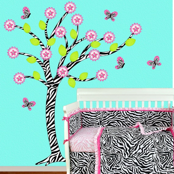 Zebra  Wall Decal Tree with Butterflies and Flowers Vinyl Sticker Nursery Decor Art