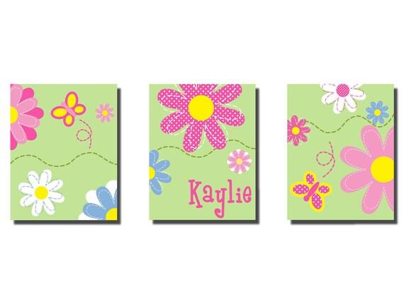 "Kids Wall Art Baby Daisy Garden Print 3 11"" x 14"" Stretched Canvas Decor Kids"