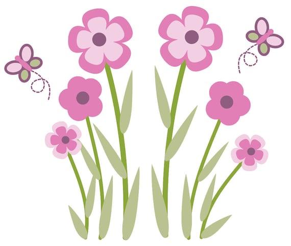 HUGE Butterfly & Flower Wall Decal Nursery Decor Art Sticker