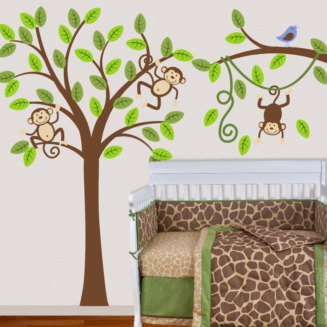 Tree wall decal monkey nursery kids removable wall vinyl decal for Baby room jungle mural