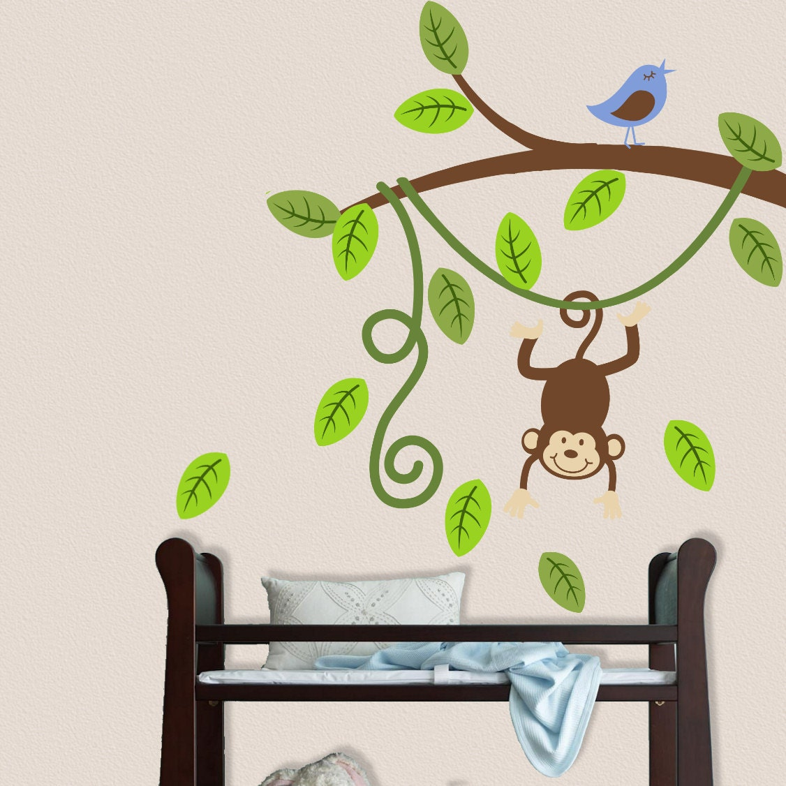 monkey branch wall decal nursery decor vinyl sticker. Black Bedroom Furniture Sets. Home Design Ideas