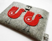 iPad Case-Kindle Cover-Handmade iPad Felt Cover- Custom Size with happy red birds