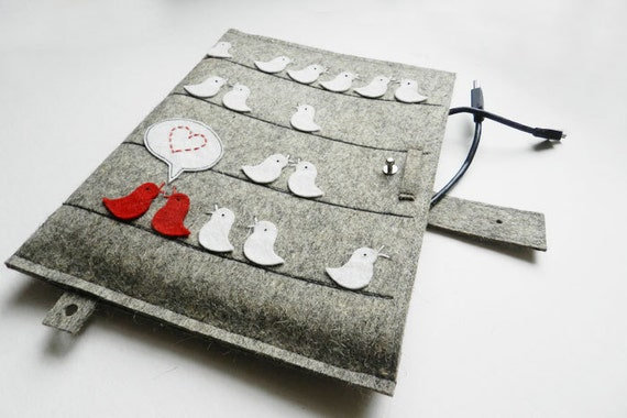 iPad Case-Kindle Cover-Handmade iPad Felt Cover- Custom Size with with happy love red bird