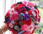 casino las vagas wedding bridal brides posy custom handmade bouquet felt flowers alice wonderland made for amanda