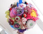 handmade customade wedding bridesmaids posy alice woodland bespoke button felt bouquet