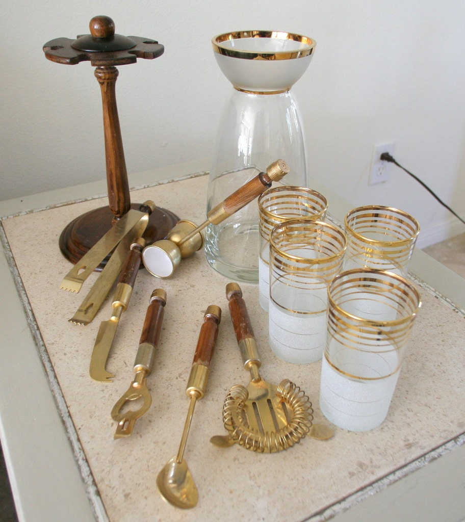 Vintage Bar Serving Set With Brass Mixing Tools 1960