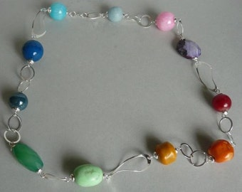 coral, agate, amethyst, aventurine, howlit - full of colours necklace