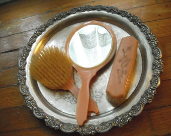 Vintage Dupont Peach Vanity Set with Mirror and Brushes