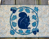 Handprinted Fabric - Squirrel wreath design on paisley