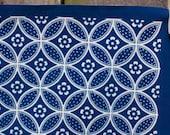 Handprinted Fabric - Shippo (reverse) design in ivory