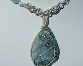 Sterling Silver Chainmaille Necklace: Wire Wrapped Moss Agate Pendant