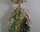 Amazonite Pendant  Wire Wrapped Spirals in Copper
