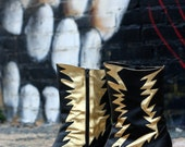 CLEARANCE SALE... State Of Shock.........Womens Vintage Boots by Pazzo in gold black leather
