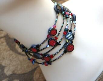 Easter Clearance Red avant garde Choker.....Raku Fired Clay Necklace Bracelet Mixed Media Art Handmade OOAK