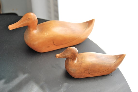 Set of two wood carved mini duck decoy figures
