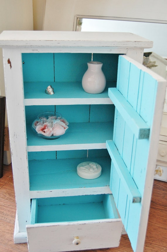 Free shipping: Antique bathroom cabinet, re-done and upcycled in white and teal