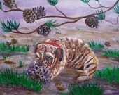Reserved for KimsBeads - Puppy Playing with a Pine Cone - Original Painting