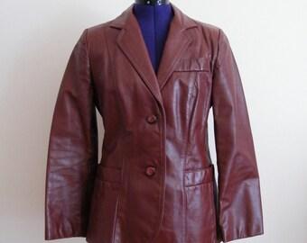 Vintage 1970s Leather Coat / Burgundy / Leather Blazer / Leather Jacket / Small