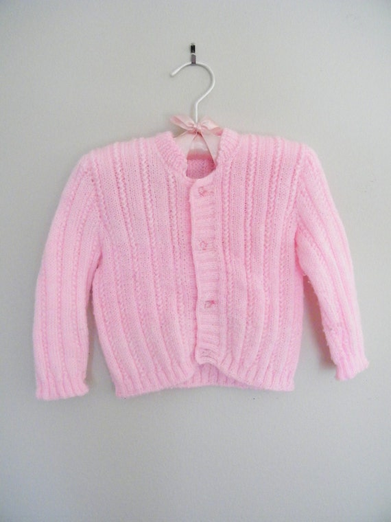Vintage Pink Baby Sweater / Soft Stretchy Knit