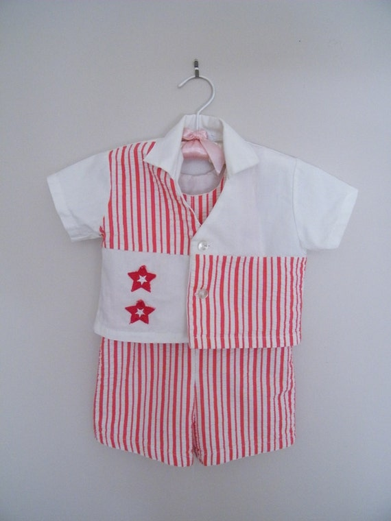 Vintage 2 Piece Boys Outfit / Shirt and Overalls / Size 2T / Patriotic