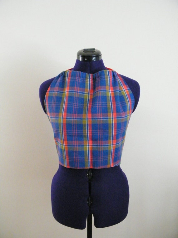 Vintage 1970s Halter Top --  Plaid -- Red and Blue