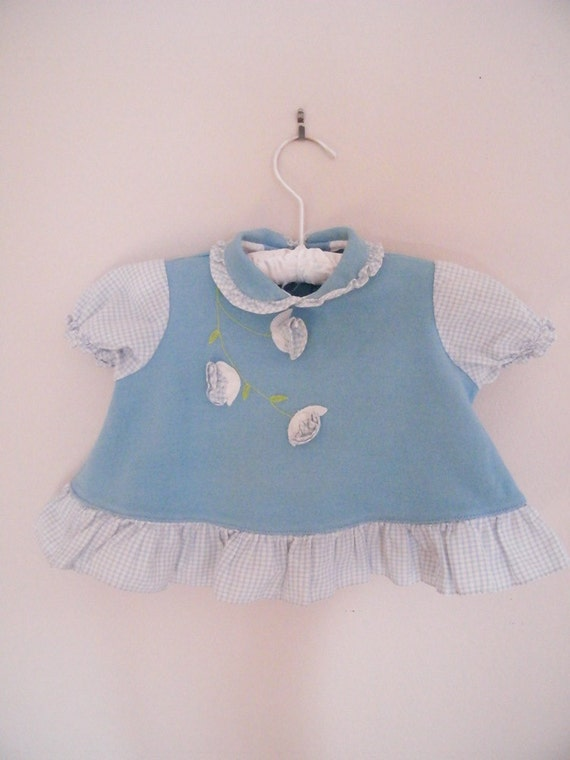 Vintage 1960s Baby Shirt / Blue and White with Pop-Out Flowers