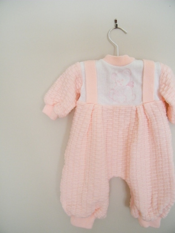 Vintage Knit Baby Outfit / Pink Suspenders with Bear
