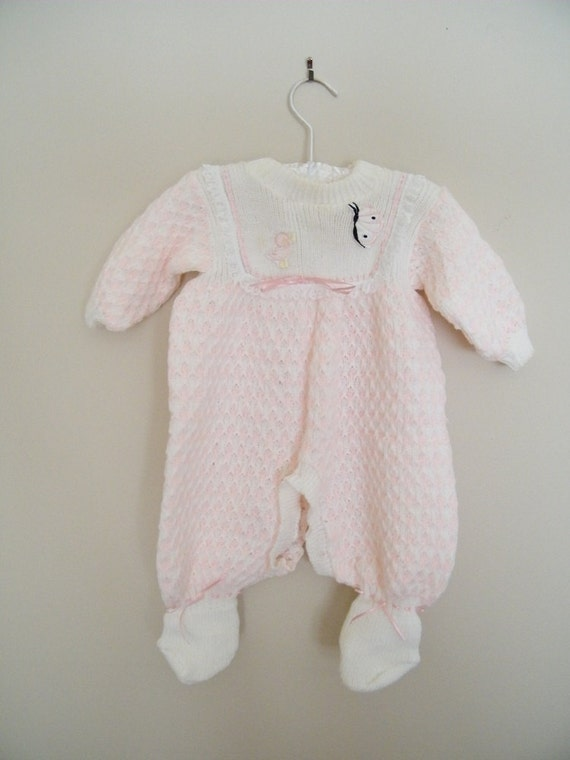 Vintage Knit Baby Sleeper Outfit