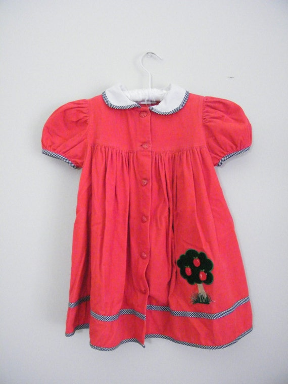 Vintage 1980s Red Corduroy Toddler Dress / Back to School