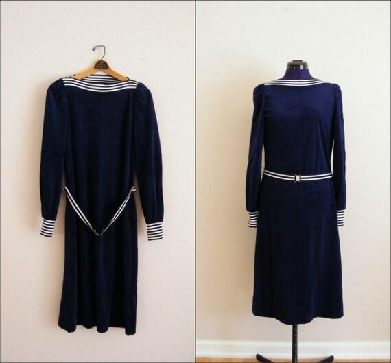Vintage 1970s Blue Velvet Dress / Boat Neck