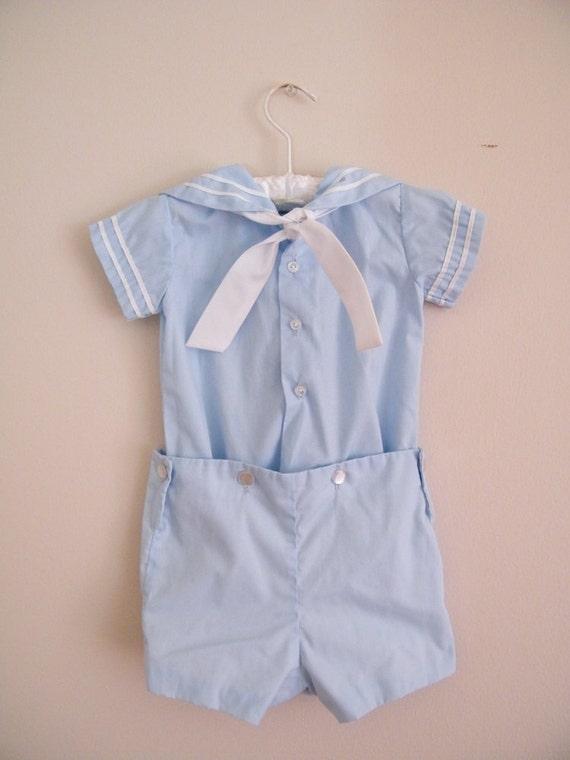 RESERVED for Nisha Patel -- Vintage 1950s 1960s Baby Sailor Suit -- 2 Piece