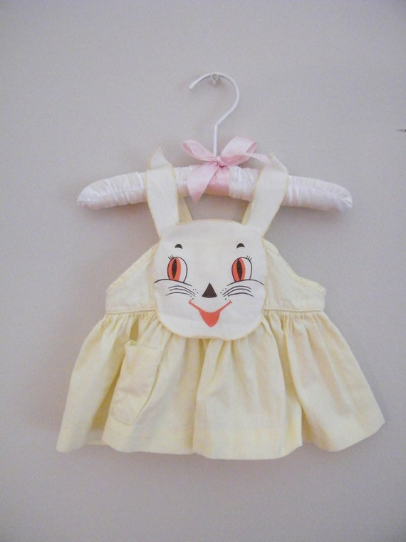 Vintage 1950s Baby Pinafore Dress -- Yellow with Bunny Face