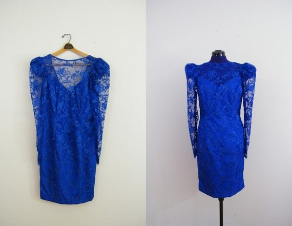 Vintage 1980s Prom Dress / Blue Lace / Long Sleeves