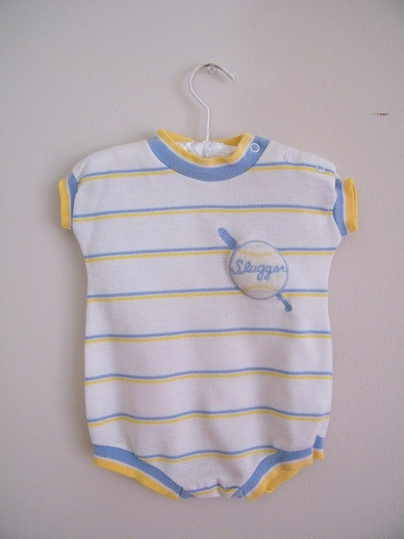 Vintage Baby Boy Romper Onesie -- Baseball -- Little Slugger -- 9 Months