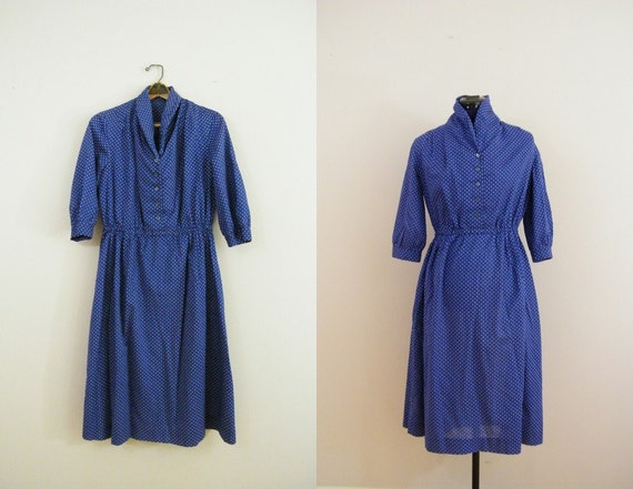 Vintage 1980s Polka Dot Dress / Blue and White / 1980s Does 1940s