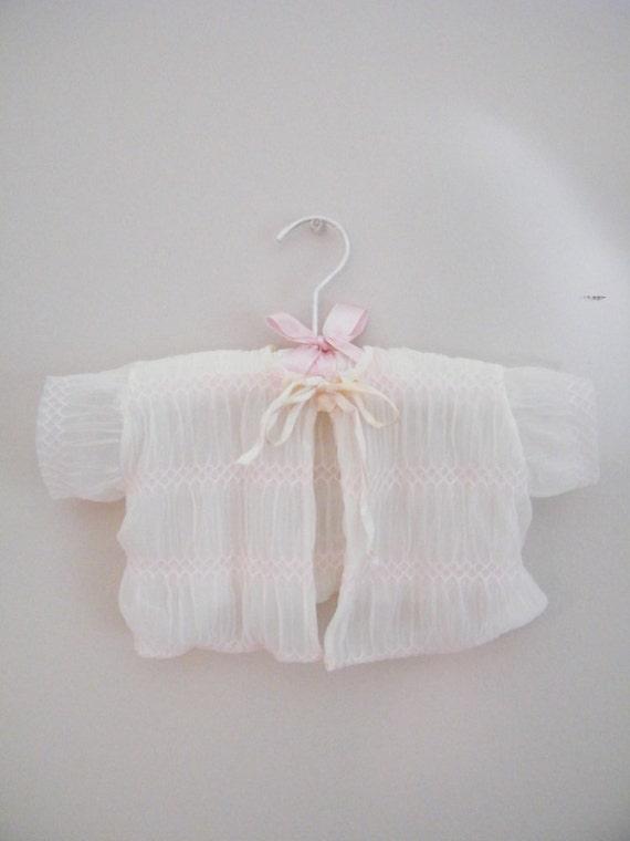 Vintage 1950s Baby Bed Jacket / Overlay Jacket / Sheer Chiffon