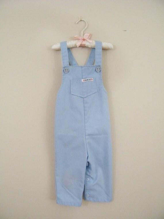 Vintage 1970s Toddler Overalls / Blue / 24 Months / Health-Tex