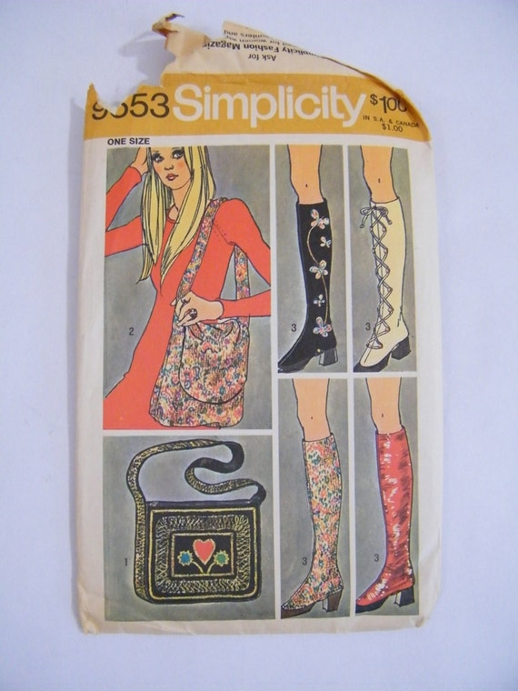 Vintage 1971 Bag and Spats Pattern / Simplicity 9553
