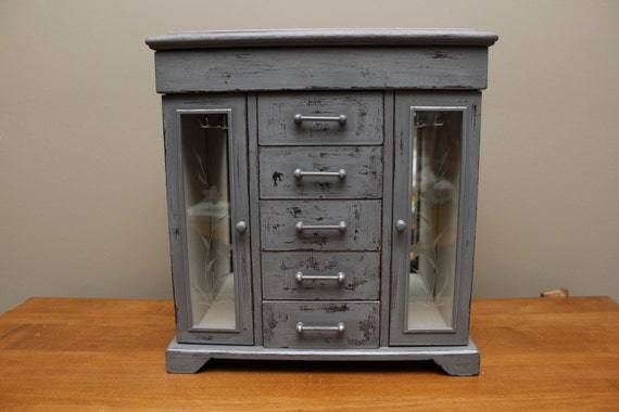 SALE Gray Distressed Jewelry Box Armoire